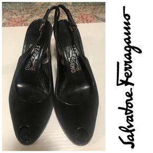 Salvatore Ferragamo Black Suede Slingback Heels